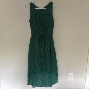 Green high/low dress